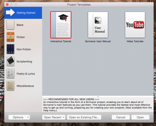 This is what Scrivener gives you when you open it. Choose one.